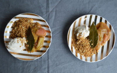 Stewed Rhubarb with Marscapone +Vanilla Sea Salted Granola
