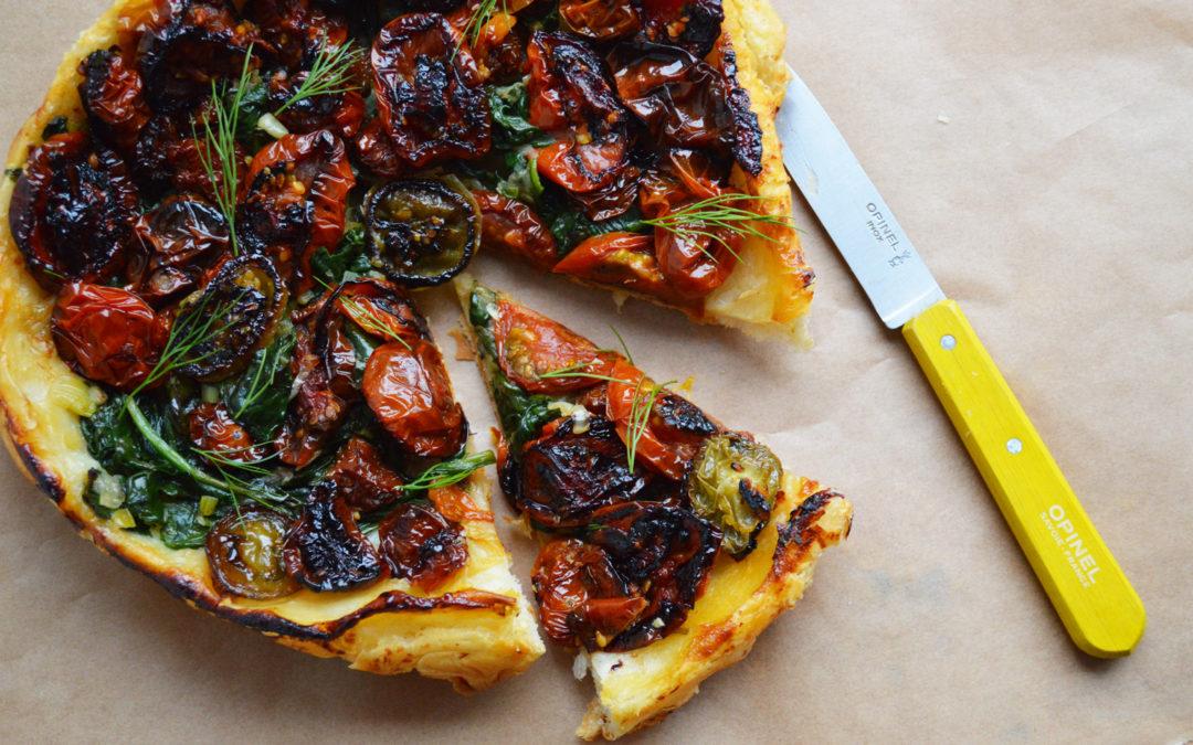 Spinach + Tomato Tart Tatin
