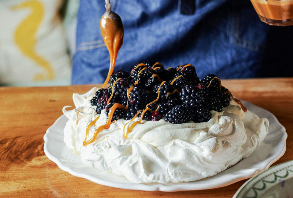 Blackberry + Sage Pavlova with Homemade Salted Caramel Sauce
