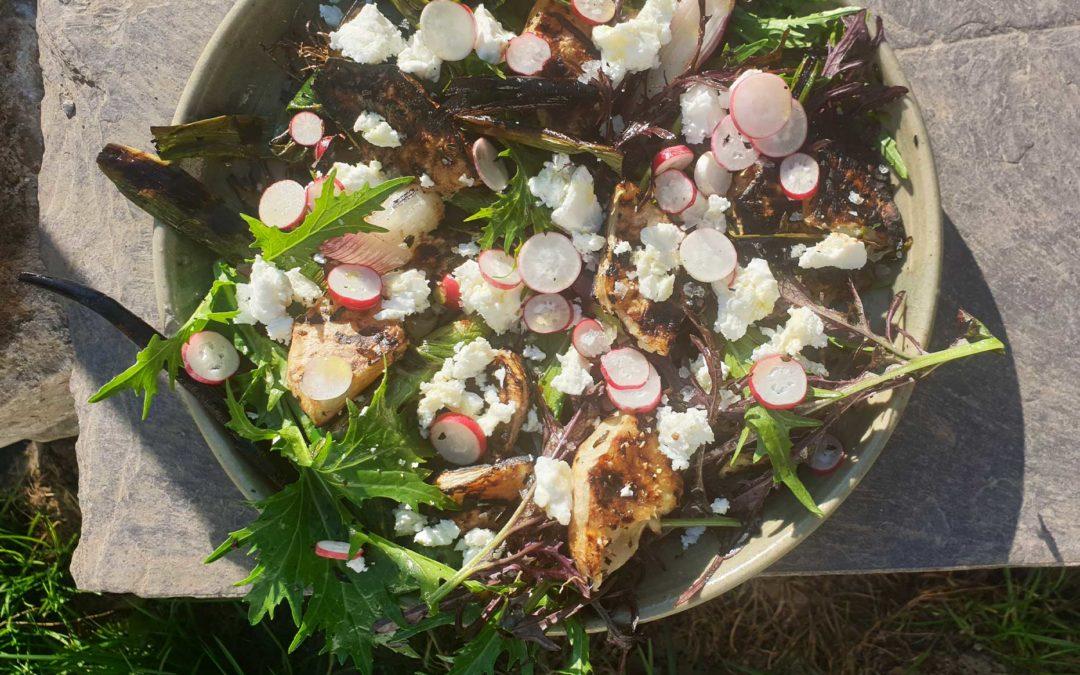 Smoky Celeriac + Green Onion Salad with Feta