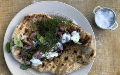 BBQ Lamb Leg with Flatbreads, Yoghurt + Herbs